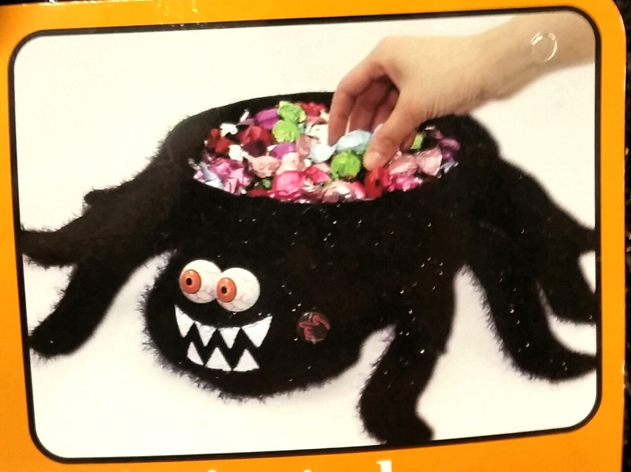 19 Inch Black Spider Light Up Musical Plush Halloween Candy Bowl - Plays ''Zombie Dance'' by Eerie Alley (Image #3)