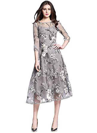 753bafb84ba Floryday Polyester Floral 3 4 Sleeves Mid-Calf Cute Dresses - Grey -   Amazon.co.uk  Clothing
