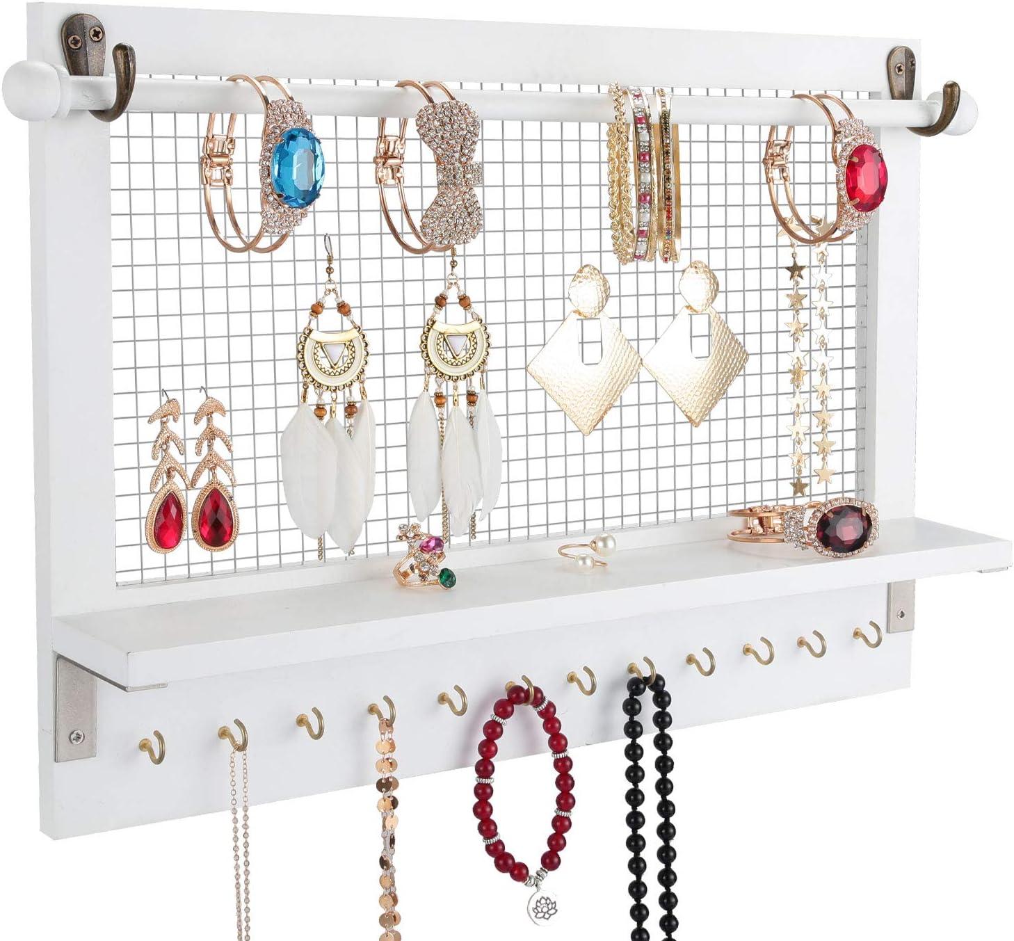 Halvalo Wall Jewelry Organizer Wood Jewelry Holder Large Storage Bracelets Necklaces Earrings Organizer Holders Jewelry Display Shelf with Hooks