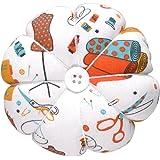 eZAKKA Pin Cushion Polka Pumpkin Wrist Pin Cushions Wearable Needle Pincushions (Sewing Necessities Pattern White)