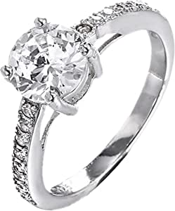 Platinum plated steel ring for ladies with Austrian crystal Item No 1499-3