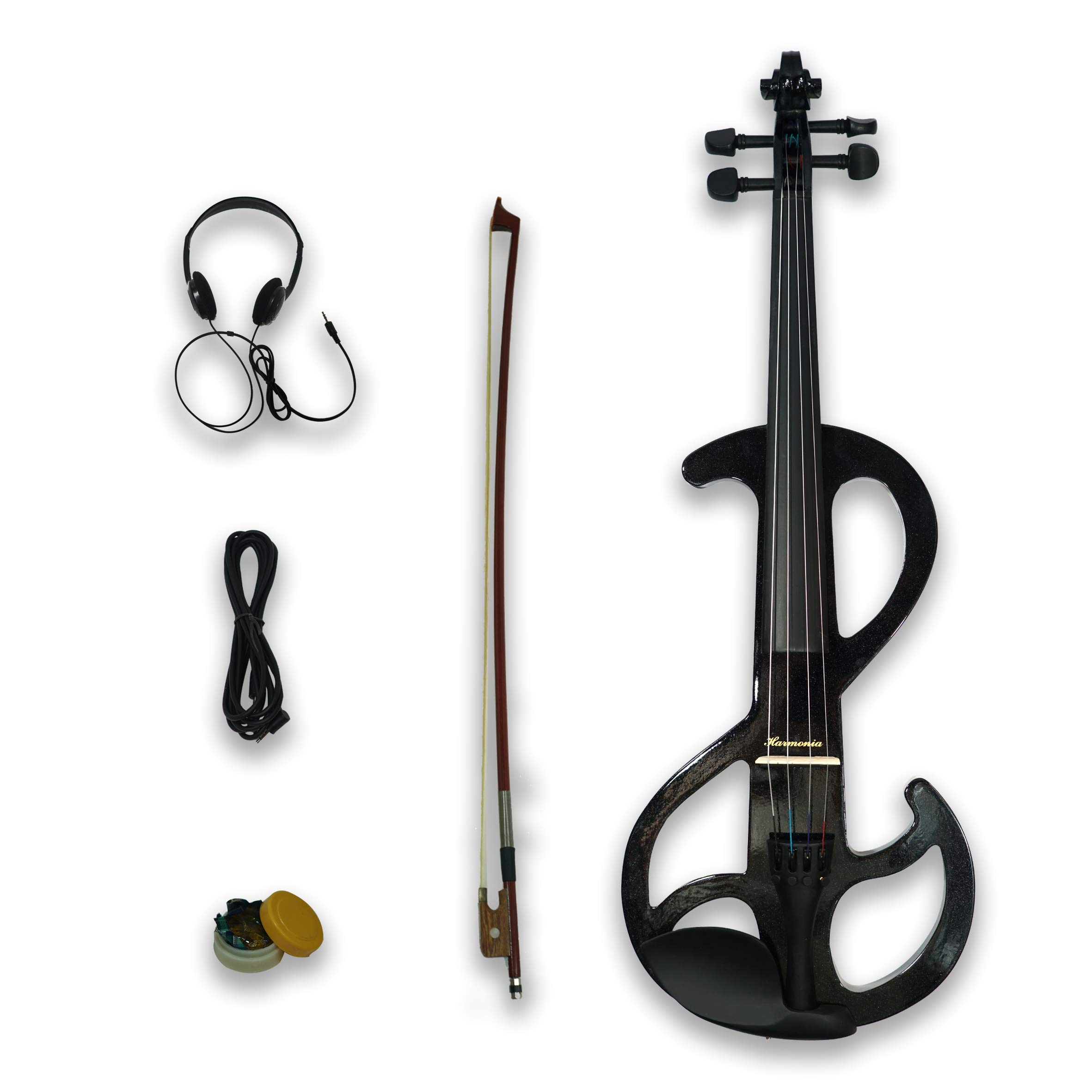 Electric Viola 4/4 S Style w/Case, Bow, Rosin, Headphone, Cable & Battery by Harmonia