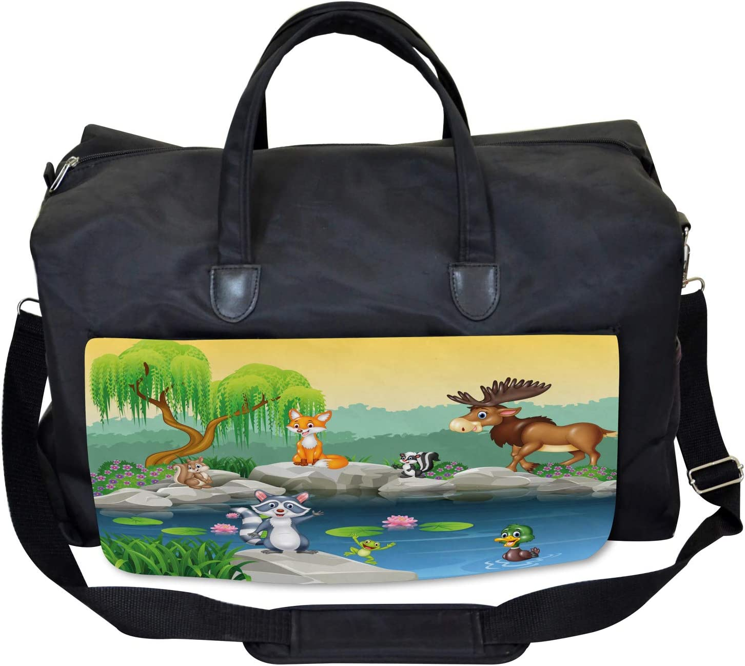 Funny Mascot Animals Large Weekender Carry-on Ambesonne Cartoon Gym Bag