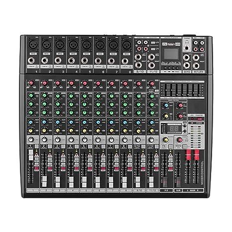 Muslady Consola de Mezcla de Sonido Profesional para DJ de 12 Canales Mezclador Digital con 48V Phantom Power BT Módulo Receptor 16 Efectos DSP ...