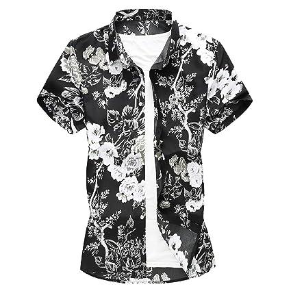 0c3b4b2384fb Amazon.com  YKARITIANNA Summer New Men Casual Summer Printed Button Short  Sleeve Hawaiian T-Shirt Top Blouse  Arts