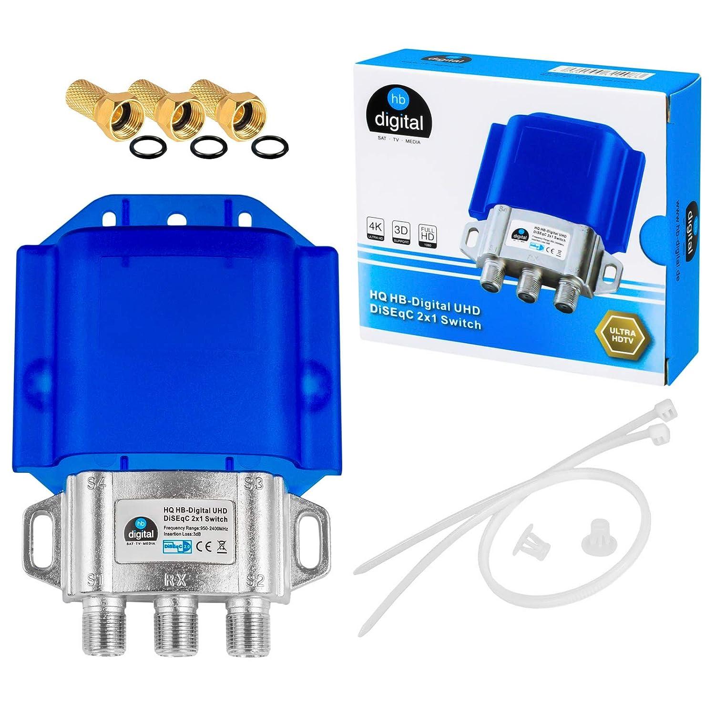 para Conector F de Color Dorado HB de Digital HQ DiSEqC Interruptor Switch con Carcasa Impermeable Full HDTV 3D 4/K UHD