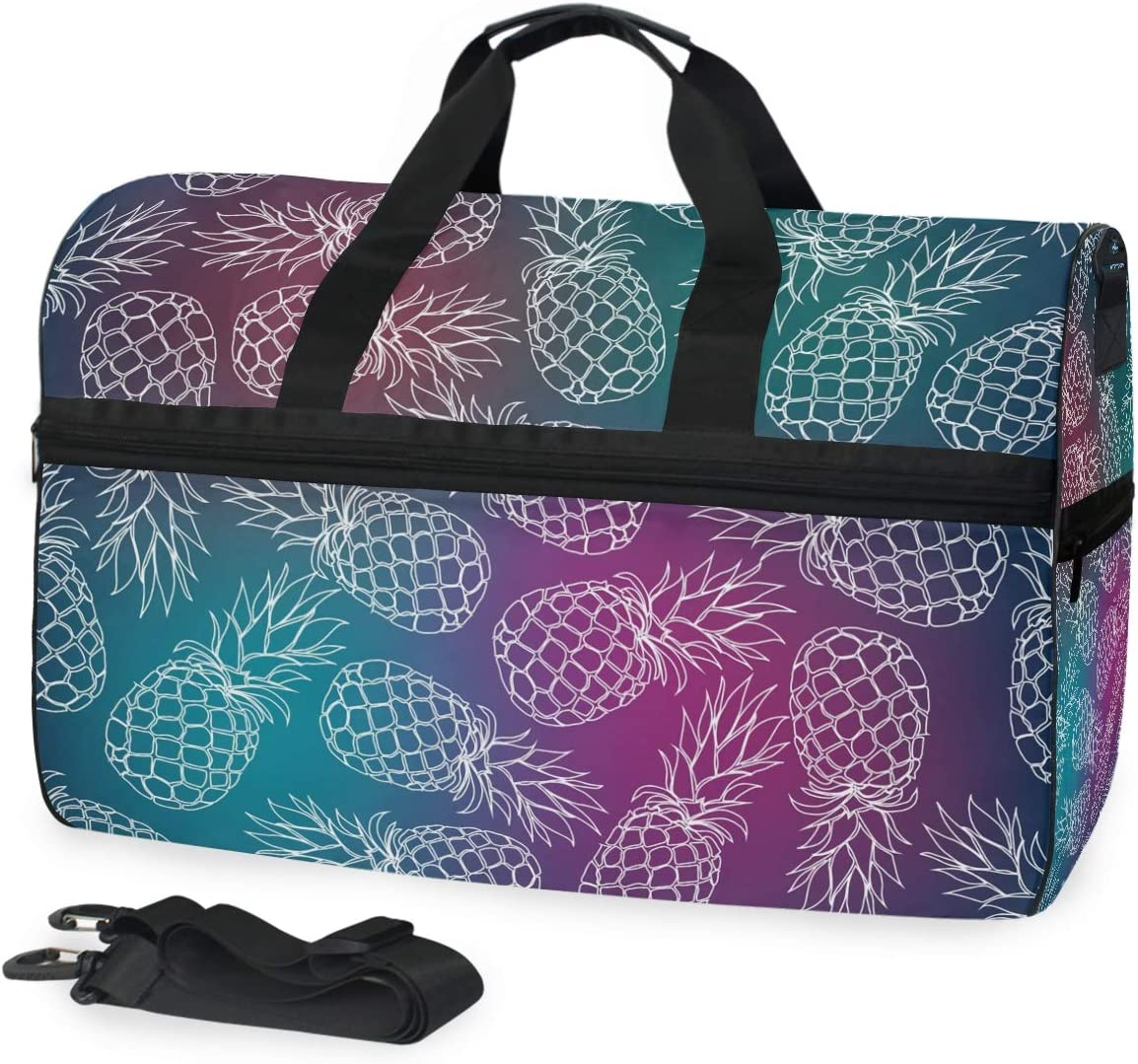 Pineapple Fruit Sports Gym Bag with Shoes Compartment Travel Duffel Bag for Men and Women