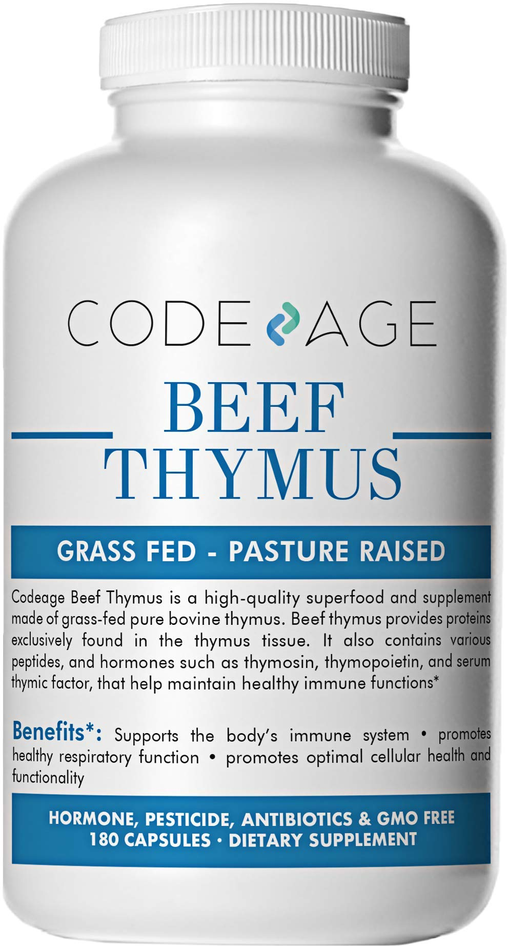 Codeage Grass Fed Thymus (Glandular), 180 Count — Supports Immune & Allergy Health, 3000mg per Servings, 100% Pasture Raised in Argentina
