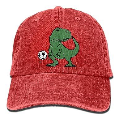 Amazon.com  Unisex Cute T-Rex Dinosaur Playing Soccer Vintage Jeans ... 20a725179aa6