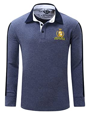 Polo Shirts, Cokle Men Solid Long Sleeve Lapel Casual Fit Tee Dark Blue L