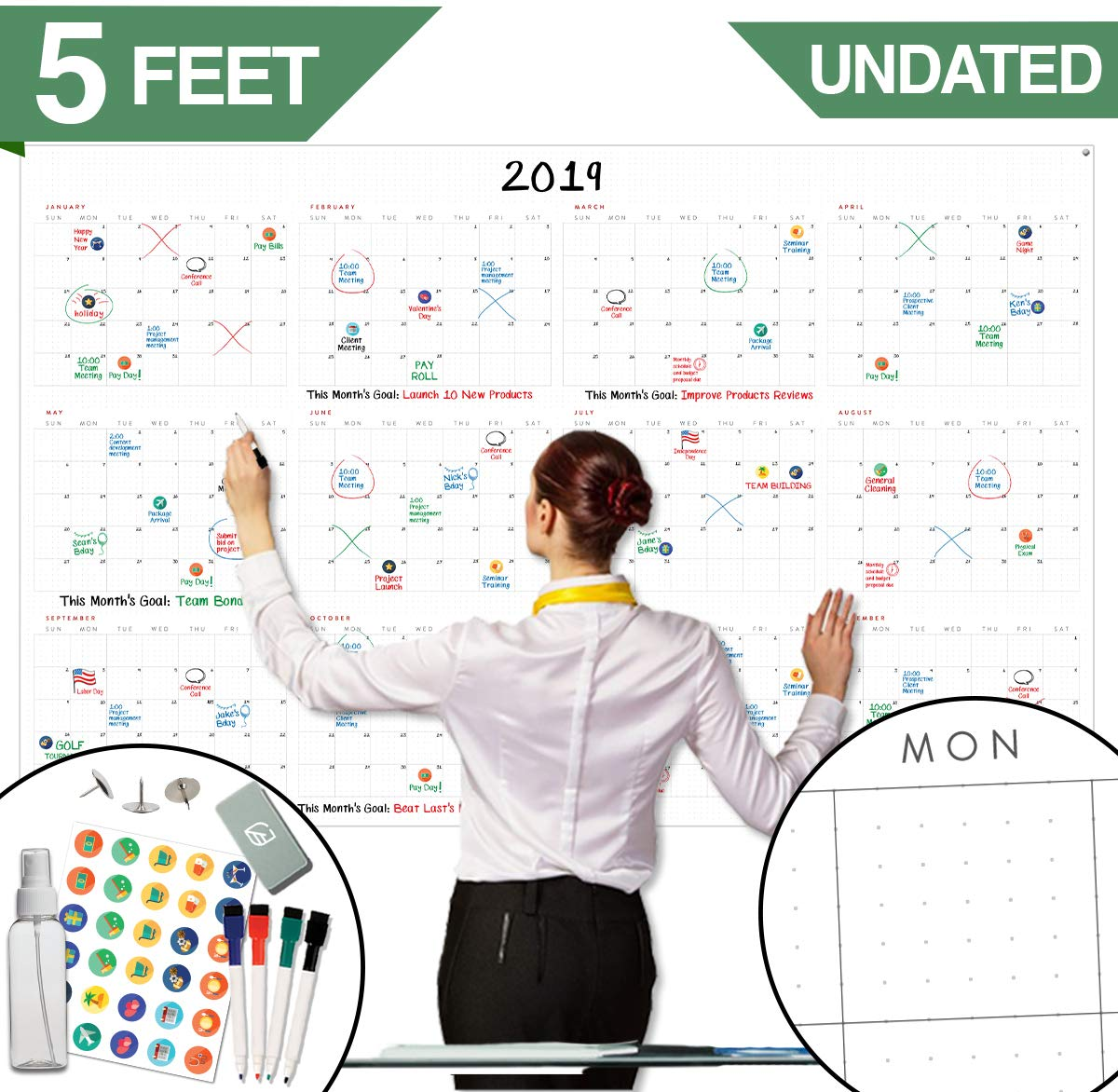 Large Dry Erase Wall Calendar - 60'' x 38'' - Undated Blank 2019-2020 Reusable Yearly Calendar - Giant Whiteboard Year Poster - Laminated Office Jumbo 12 Month Calendar