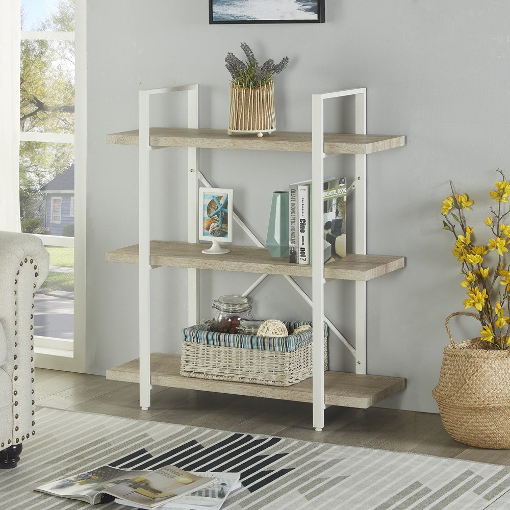 Display Storage Rack for Collection 70.0Height 70.0/'/'Height HLF HLBS-17005WH Homissue 5-Shelf Modern Style Bookshelf Light Oak Shelves and White Metal Frame
