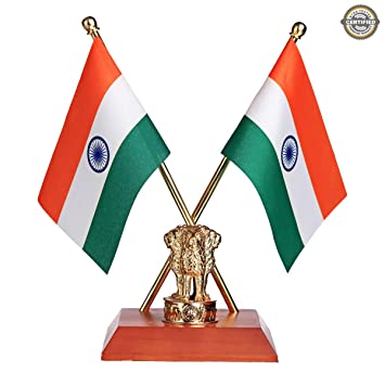 Buy The Flag Shop Indian National Table Flags With A Shiny 18k Gold Plated Brass Emblem Of India Ashok Stambh Online At Low Prices In India Amazon In