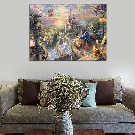 WJY Thomas Kinkade La Bella e la Bestia Che Si innamora Stampe su Tela Stampe Arte murale Pittura Immagine Decorativa Decorazioni per la casa Moderne 60cm x90cm No Frame