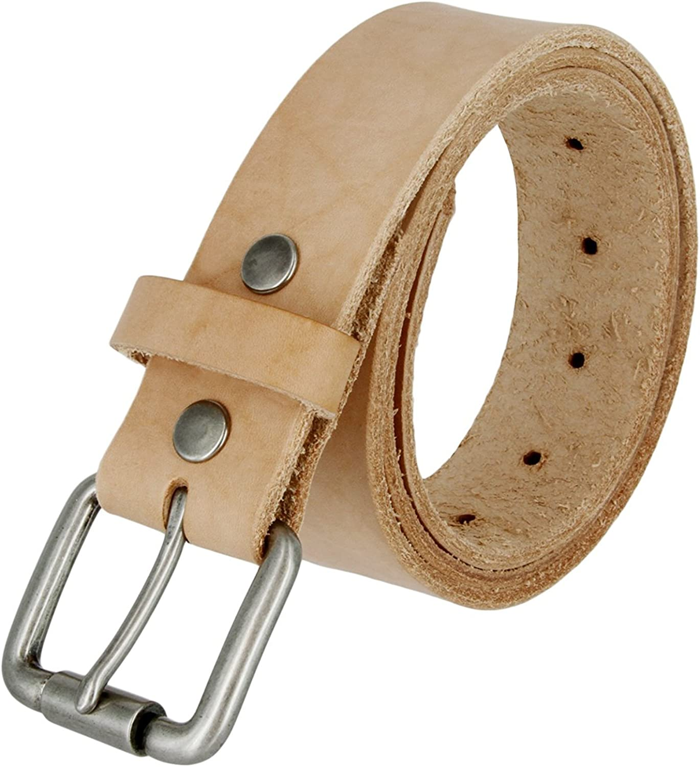 Natural Finish Full Grain Leather Belt with Roller Buckle 1 1//2