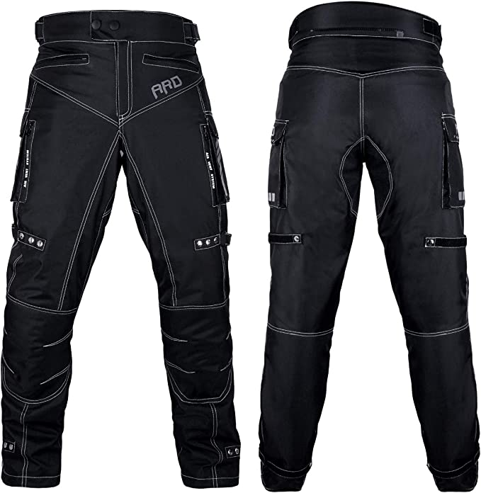 Profirst CE Approved All Weather Waterproof Armoured Motorbike Motorcycle Trouser Pant with Removable Lining Full Black, X-Small 28 Waist Regular Length 32 inches - TR-425