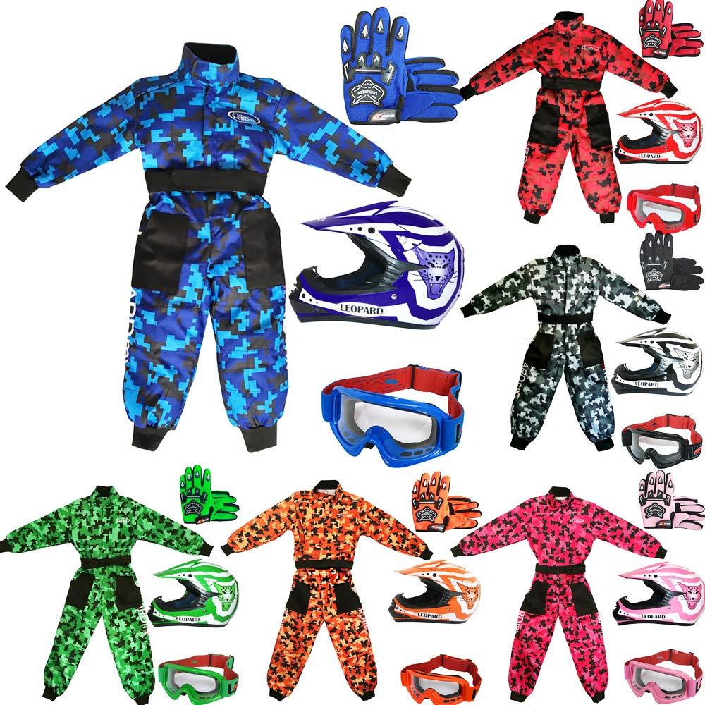 + Helmet /& Gloves XL Leopard Kids Children Motorbike Motocross Set { CAMO Suit XL + Goggles } Green 55cm 11-12 Yrs