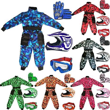 S S 49-50cm 5-6 Jahre alt Leopard LEO-X17 Blau Kinder Motocrosshelme Motorradhelm + Handschuhe S 5cm Kinder Motocross CAMO Anzug + Brille
