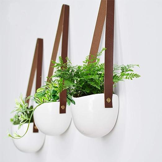 Juego de macetas de cer/ámica blanca Florero de plantas suculentas Jardineras colgantes de pared Grandes macetas de interior al aire libre Juego de 2 M/&W Decoraci/ón de la pared