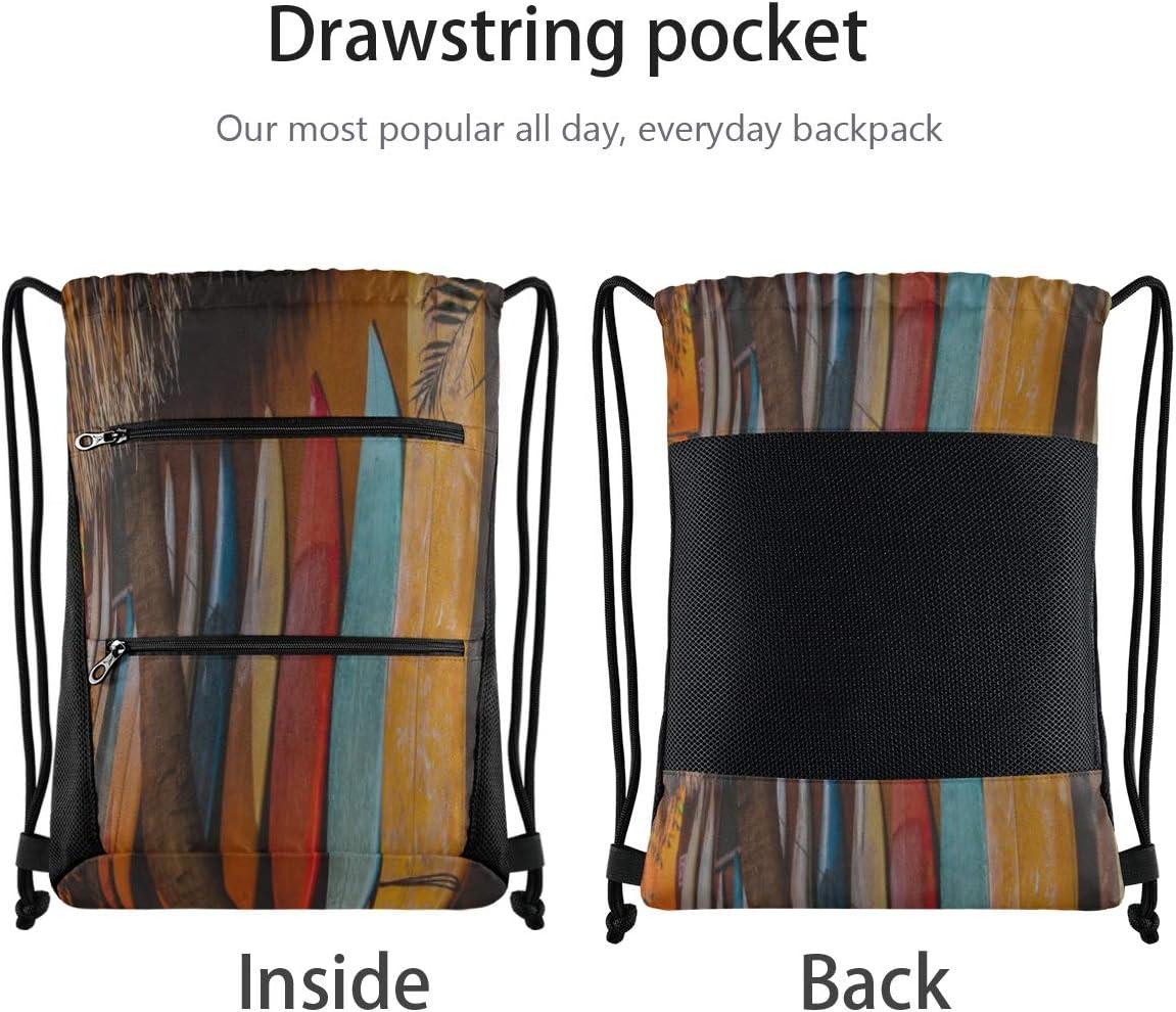 Drawstring Gym Bag Small Many Different Surf Boards Drawstring Bags For Adults Drawstring Bag Party Lightweight With Zipper Pocket Sports Athletic School Travel Gym Cinch Sack
