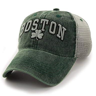 da307cdb4ee Chowdaheadz Boston Shamrock Cobblestone Mesh Trucker Green Hat at ...