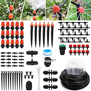 Yummy Sam Micro Drip Irrigation Kit,30m/100ft Adjustable Automatic Garden Irrigation System with Adjustable Nozzle Sprinkler Sprayer & Dripper Patio Plant Watering Kit for Garden Flower Bed Patio Lawn
