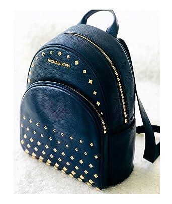 e647803993ed Michael Kors Abbey Leather Medium Studded Backpack Navy Blue  Amazon.co.uk   Clothing