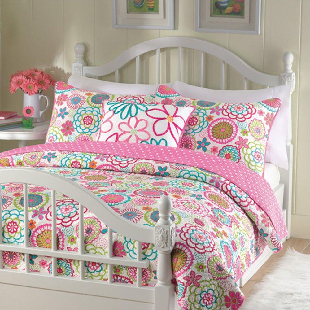 Cozy Line Pink Floral 3-Pcs Quilt Sets Reversible Polka Dot Little Girl Bed, Full/Queen