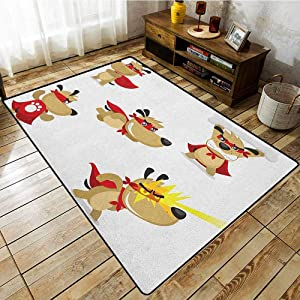 Pet Rug,Dog,Superhero Puppy with Paw Costume and Mystic Powers Laser Vision Supreme Talents,Rustic Home Decor Red Cream White