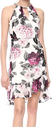 Calvin Klein Womens CD9B36W8 Halter Neck Cocktail Dress with Keyhole Front Sleeveless Dress - Multi