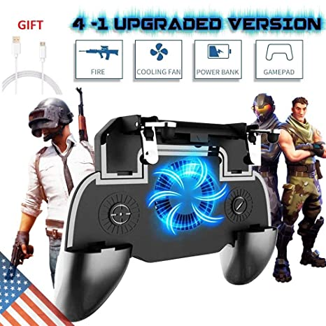 Mobile Game Controller for PUBG Fortnite, L1R1 Turnover Triggers Fire  Buttons With Portable Charger Cooling Pad,Adjustable Size 4 İn 1 Gamepad  for