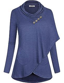 9c85add950b SeSe Code Women s Cowl Neck Long Sleeve Asymmetric Boho Floral Tunic ...