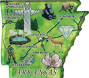 Flagline Arkansas - Acrylic State Map Refrigerator Magnet