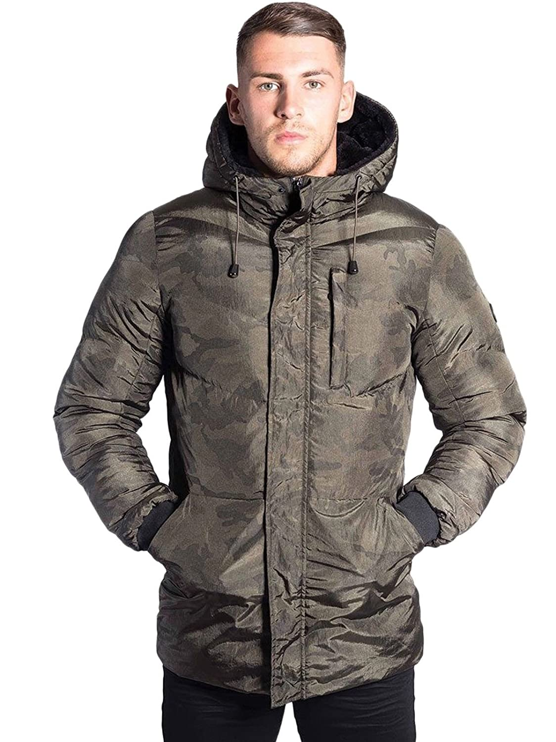 d297a7eb0cf34 Foray Mens Winter Jacket Longline Fade Camouflage Hooded Hoody Padded  Bomber Puffer Bubble Warm Quilted Fur Hood Lining Parka Coat Camo:  Amazon.co.uk: ...