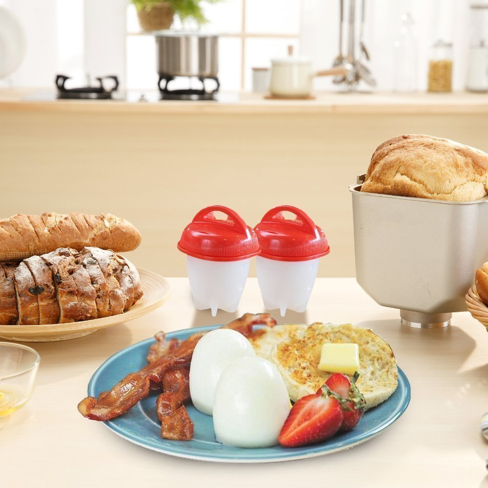 As Seen on TV Egg Cooker Set - 6 Pack, Non Stick Silicon Egg Boiler, Hard Boiled Eggs With No Shell | Includes 4 FREE Complimentary Items: 1 Egg Timer, 1 Egg Separator, 1 Egg Whisk and 1 Egg Slicer by KooZs (Image #6)