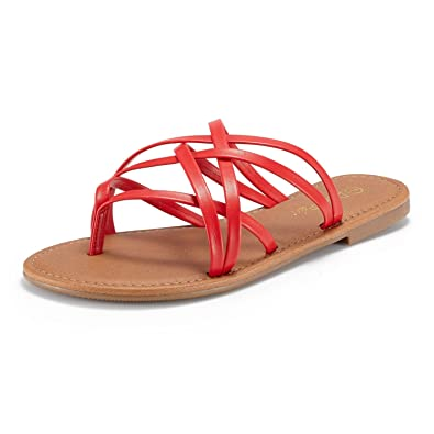a703cfeccb2 DREAM PAIRS Women s SLIPP 01 RED Thong Design Strappy Fashion Summer Flat  Sandals Size 5 ...