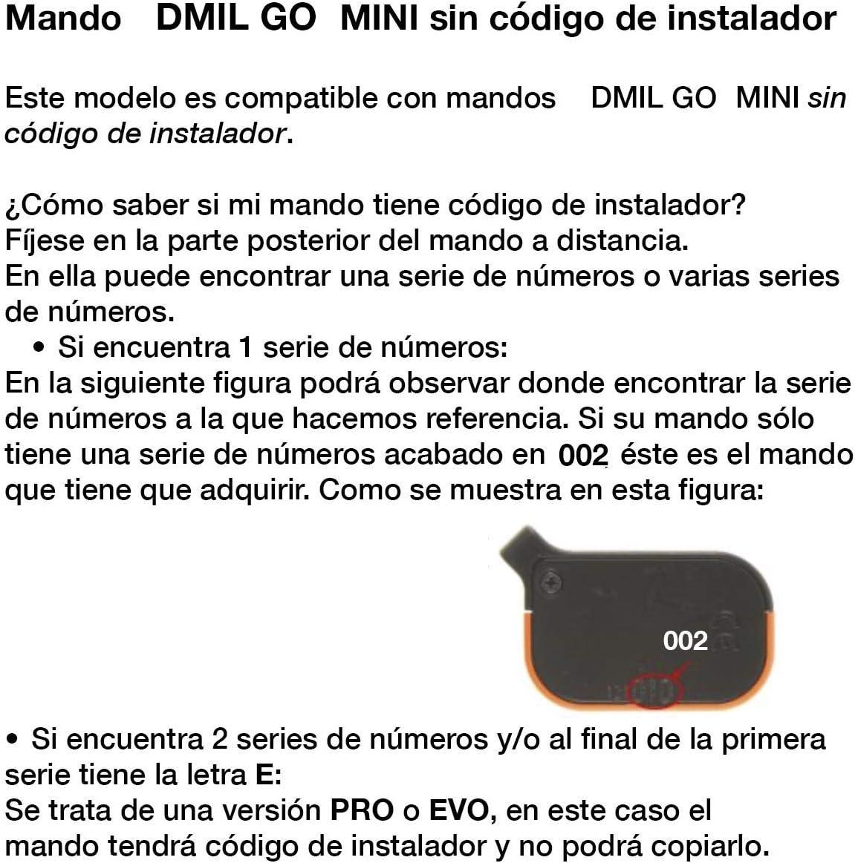 DMIL GO MINI Mando Garaje Frecuencia 868 MHz V/álido Puertas de Garaje DMIL