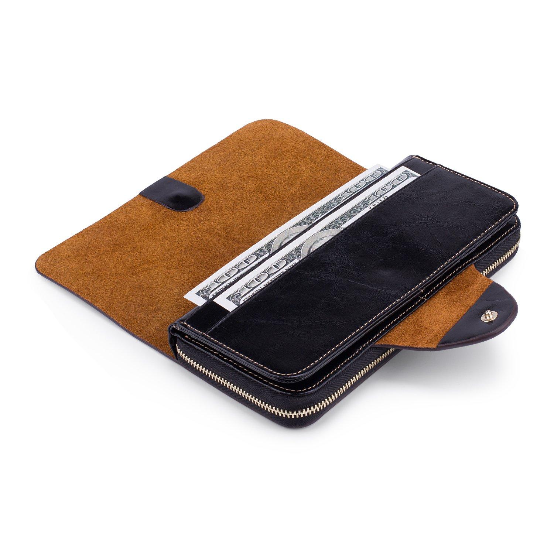 Yafeige Large Luxury Women's RFID Blocking Tri-fold Leather Wallet Zipper Ladies Clutch Purse(1-Waxed Black) by Yafeige (Image #5)