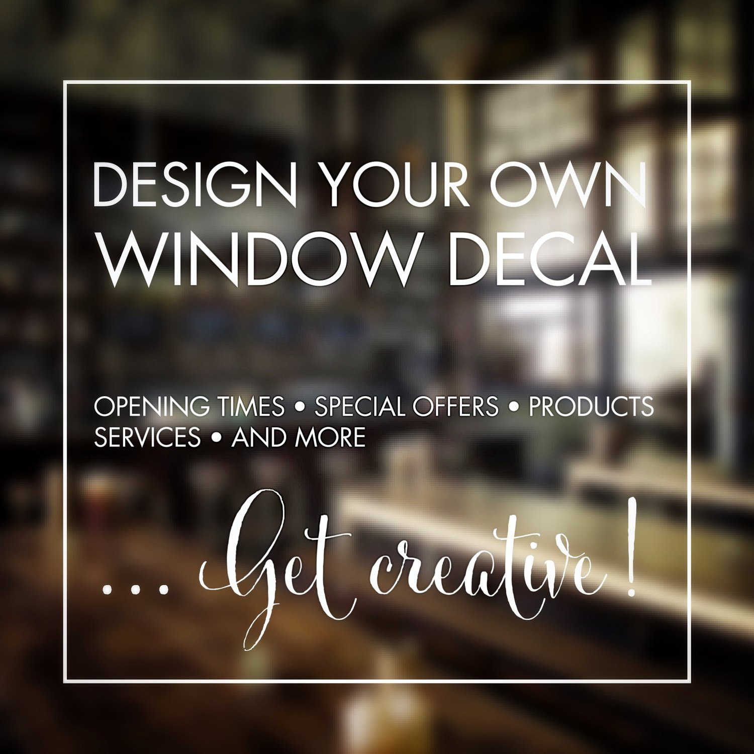 Window stickers design your own custom made personalised window stickers words special offer opening times create your own stickers amazon co uk