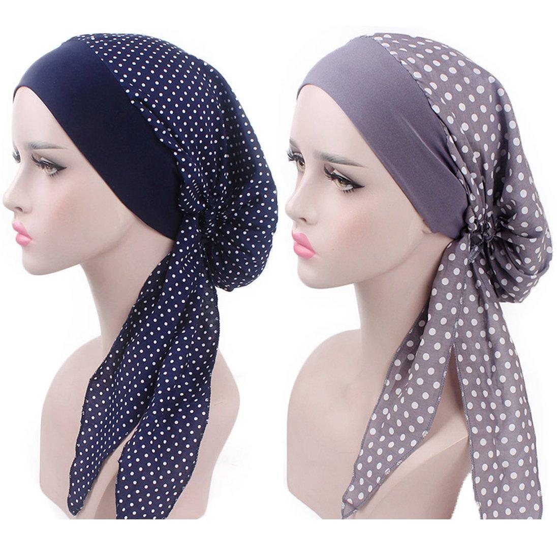 Simoda Women Elastic Cotton Head Scarf Pre Tied Chemo Bandana