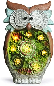GROWNEER 10 Inches Solar Powered Garden Statue Resin Lawn Ornaments Indoor Outdoor Owl Sculpture, Home Décor, Garden, Patio, Yard, Balcony