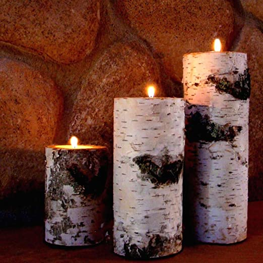 Christmas Tablescape Decor - Natural Real Birch Log Tealight Candleholders Set of 3 with Candles Included