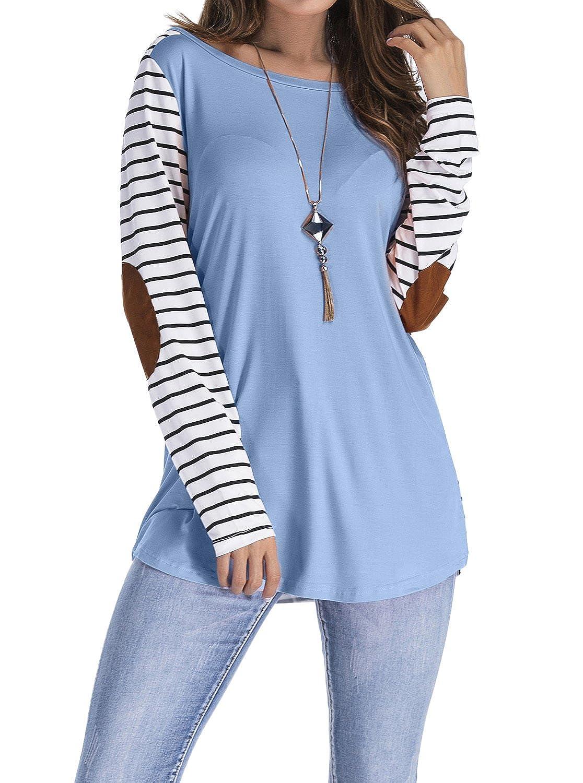 Adreamly Women's Striped Raglan Elbow Patch Tee Shirt Tunic Tops