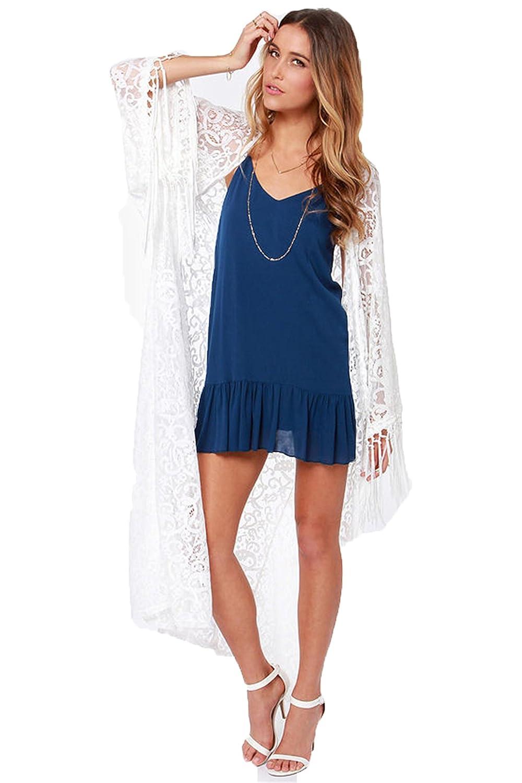 Retro Hollow Lace Crochet Tassels Fringed Kimono Cardigan Long Blouse Jacket Top