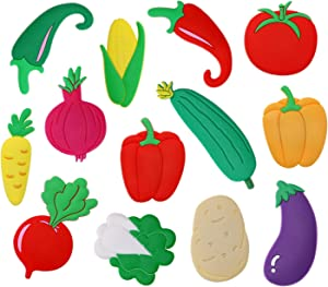 Penta Angel Rubber Vegetable Fridge Magnets 13pcs Large Cute Cartoon Refrigerator Magnets Whiteboard Stickers Kids Funky Learning Game Toys for Home Kitchen Decoration Girls Boys Education (Vegetable)