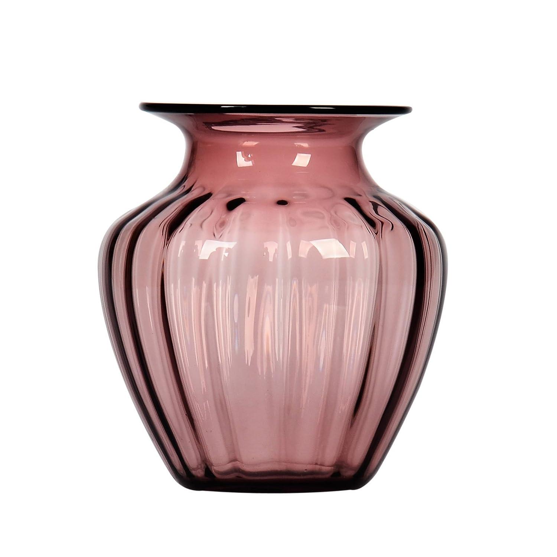 CASAMOTION Vase Hand Blown Art Glass Flower Vase,Ribble Tabletop Centerpiece Vases,Décor Gift Box,Smoke,18.3cm H