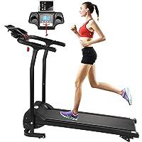 Fitnessclub Folding Electric Motorised 1100 W Treadmill Walking Running Machine Adjustable Incline Fitness Exercise Cardio Jogging W/Emergency System Hand Grip Pulse Sensor Tablet Bottles Holder