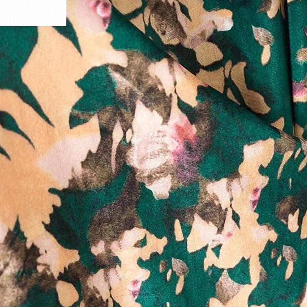 Womens Floral Pattern Velvet Wrap Cross V Neck Bow Tie Belt Long Sleeve Dress