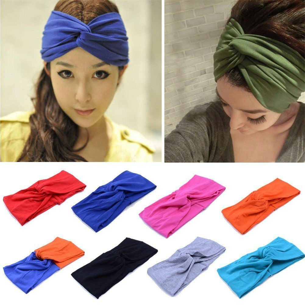 Wowlife Contrast Color Women Girls Wash the Face Headbands Headwrap Hair Band Yoga Turban Twist Headband Cross Knot Hair Bands(Black)