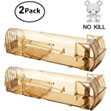 Ulable Mouse Trap, Humane Rodent Trap, Reusable Smart Small Mice Trap Device No Kill Live Mice Catch Cage for Home Kitchen Garden (Brown, 2 Pack)